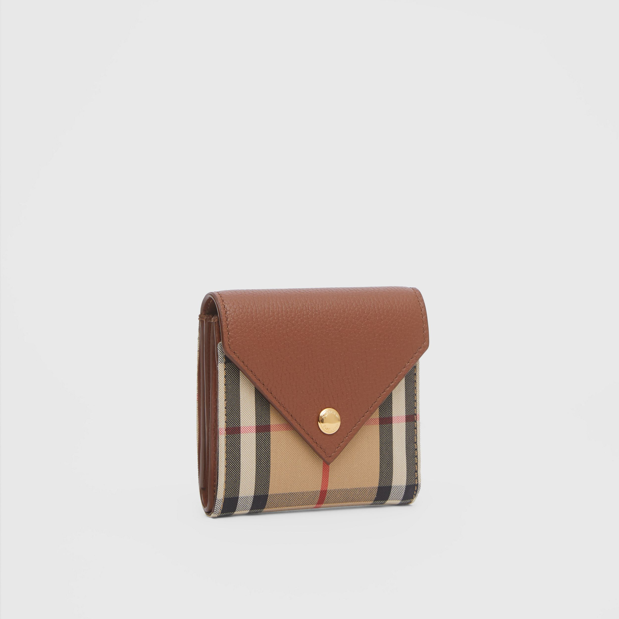 Vintage Check and Grainy Leather Folding Wallet in Tan - Women | Burberry Hong Kong S.A.R. - 4