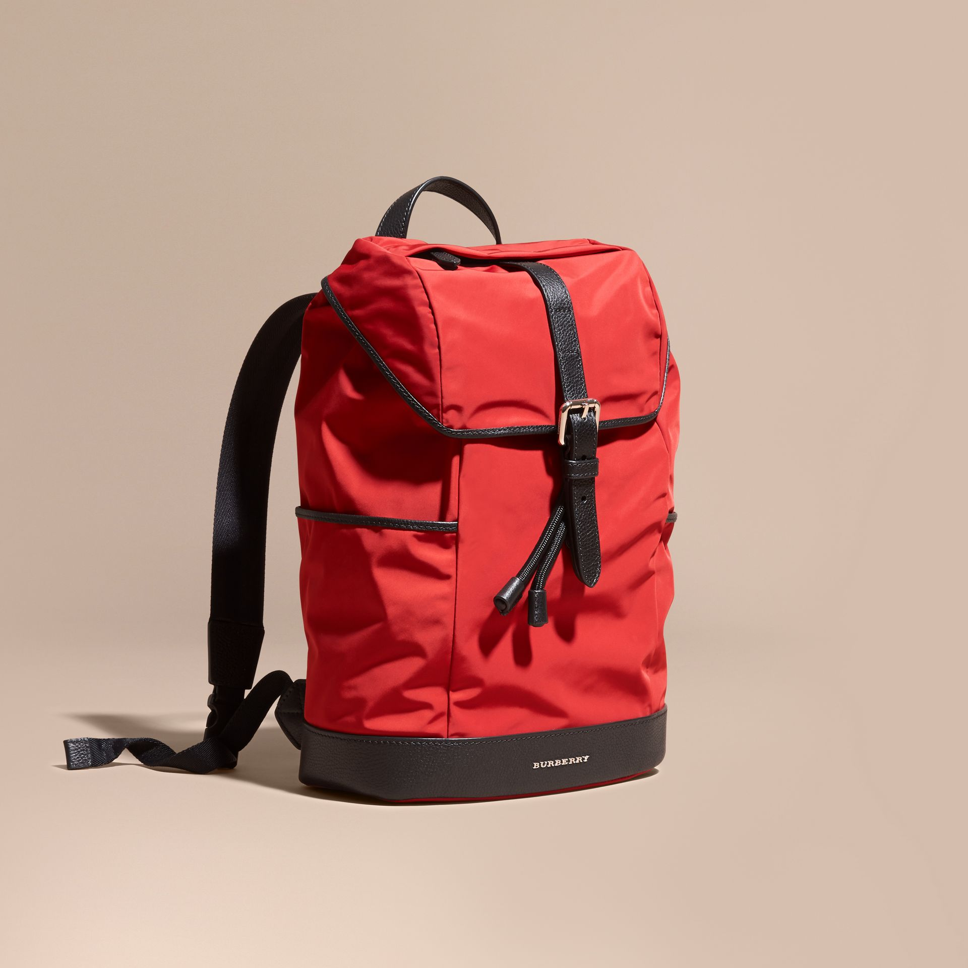 Military red Leather Trim Lightweight Backpack Military Red - gallery image 1