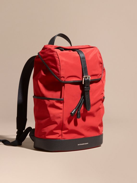 Leather Trim Lightweight Backpack in Military Red | Burberry