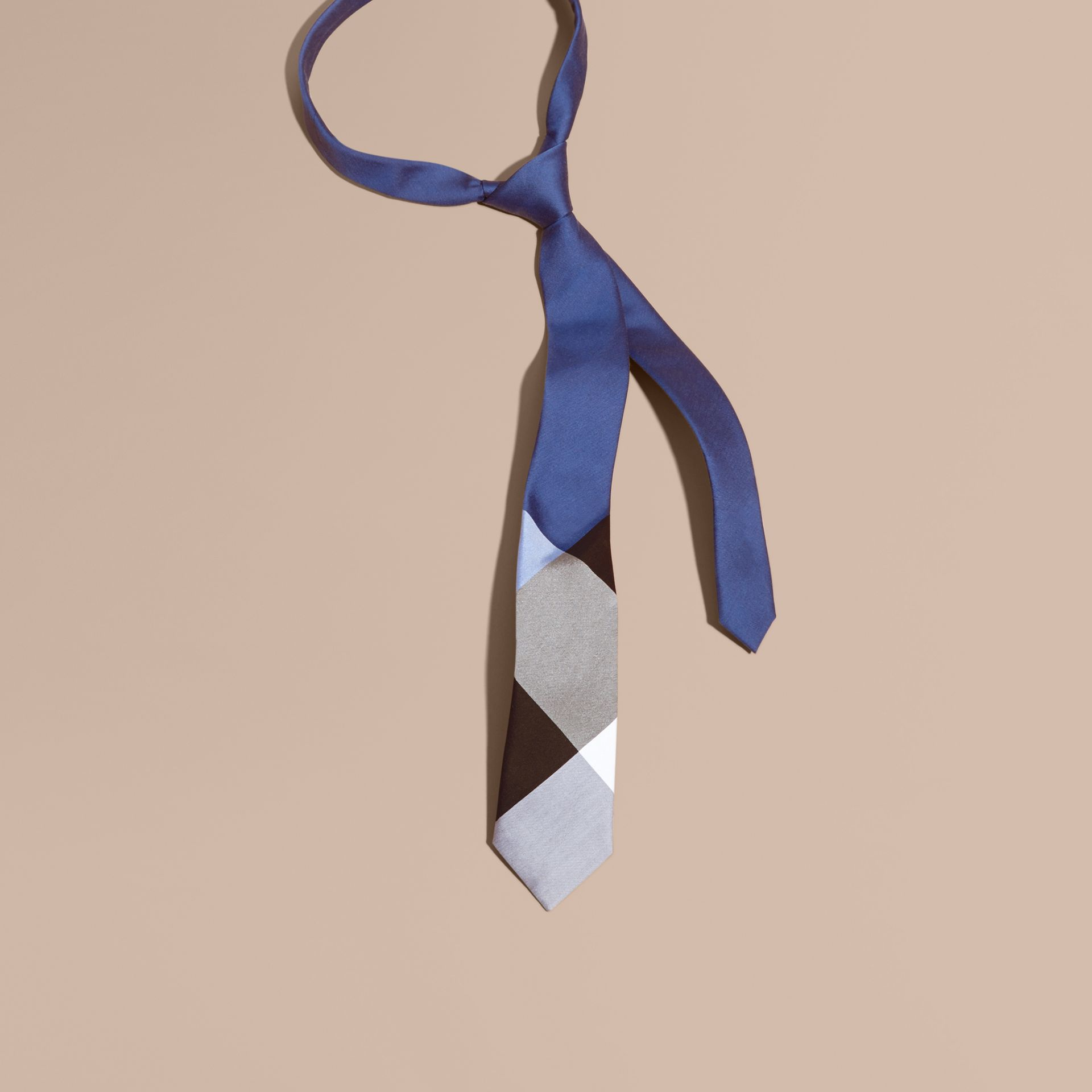 Chalk blue Slim Cut Check Silk Cotton Tie Chalk Blue - gallery image 1