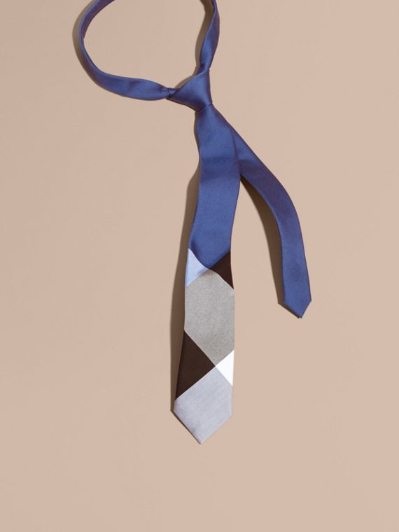Slim Cut Check Silk Cotton Tie Chalk Blue
