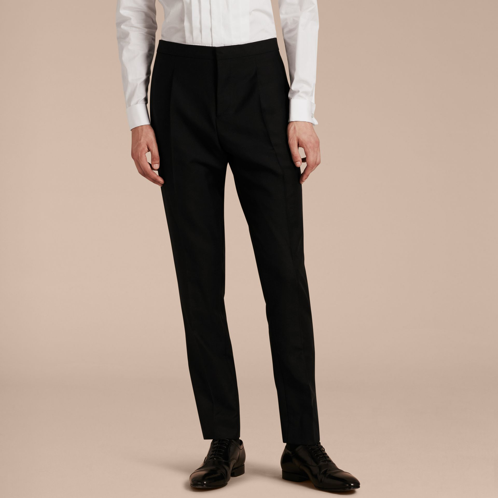 Modern Fit Wool Mohair Tuxedo Trousers in Black - Men | Burberry - gallery image 6