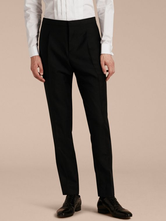 Modern Fit Wool Mohair Tuxedo Trousers - Men | Burberry Australia