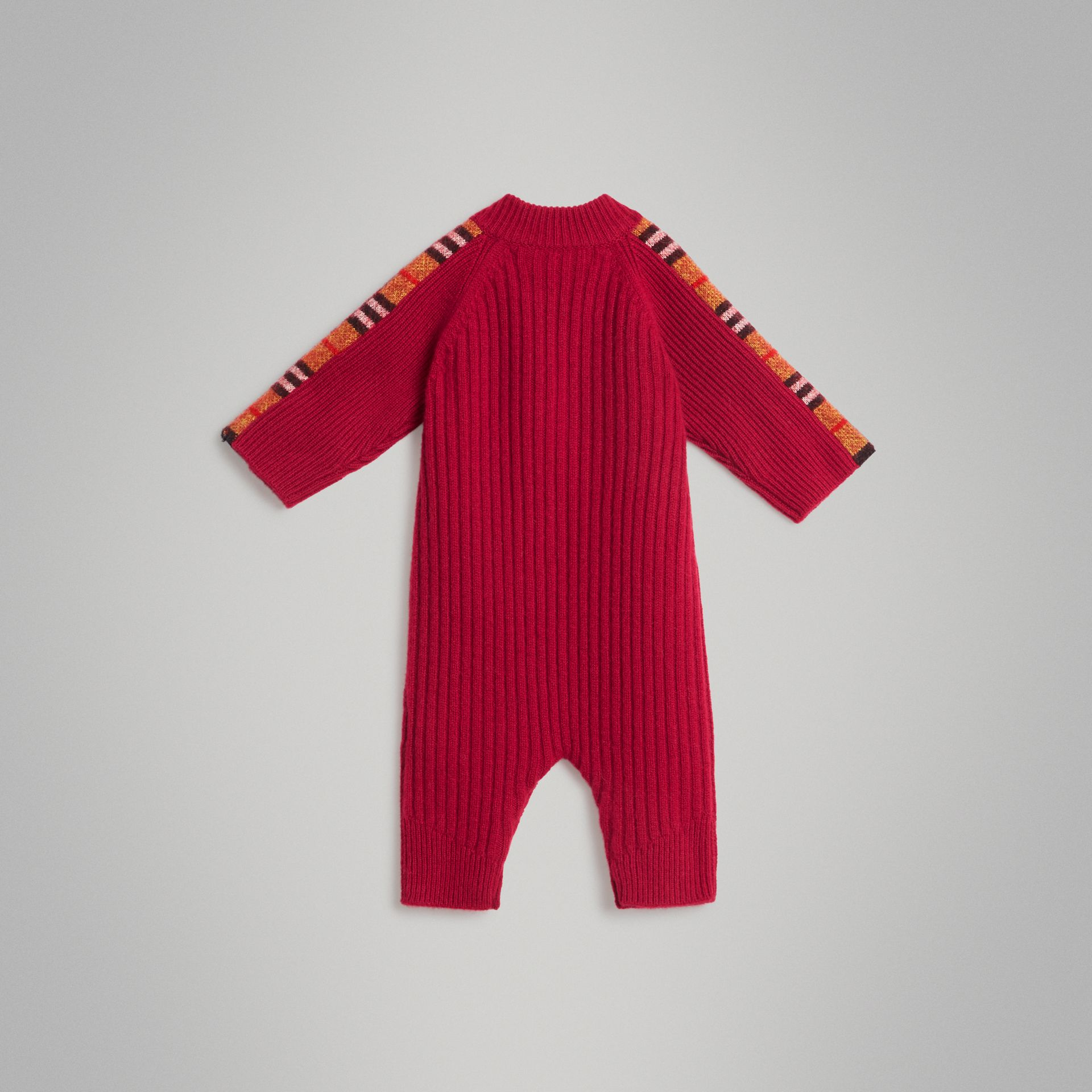 Check Detail Cashmere Jumpsuit in Burgundy Red - Children | Burberry United Kingdom - gallery image 3