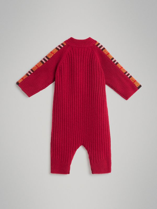 Check Detail Cashmere Jumpsuit in Burgundy Red - Children | Burberry United Kingdom - cell image 3