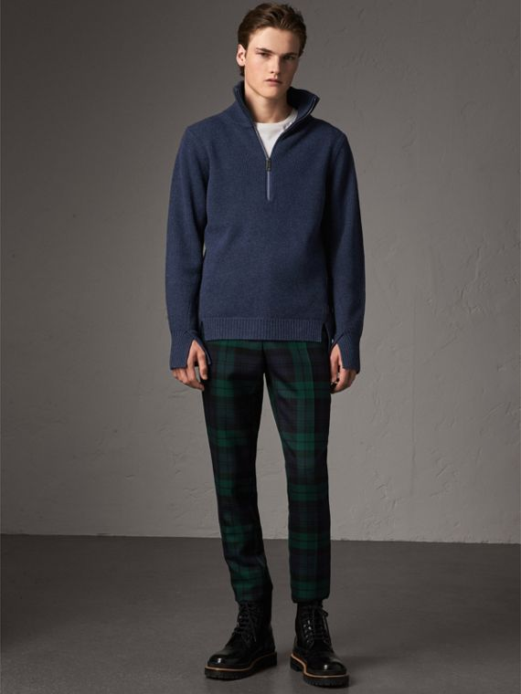 Zip Funnel-neck Wool Cashmere Sweater in Canvas Blue