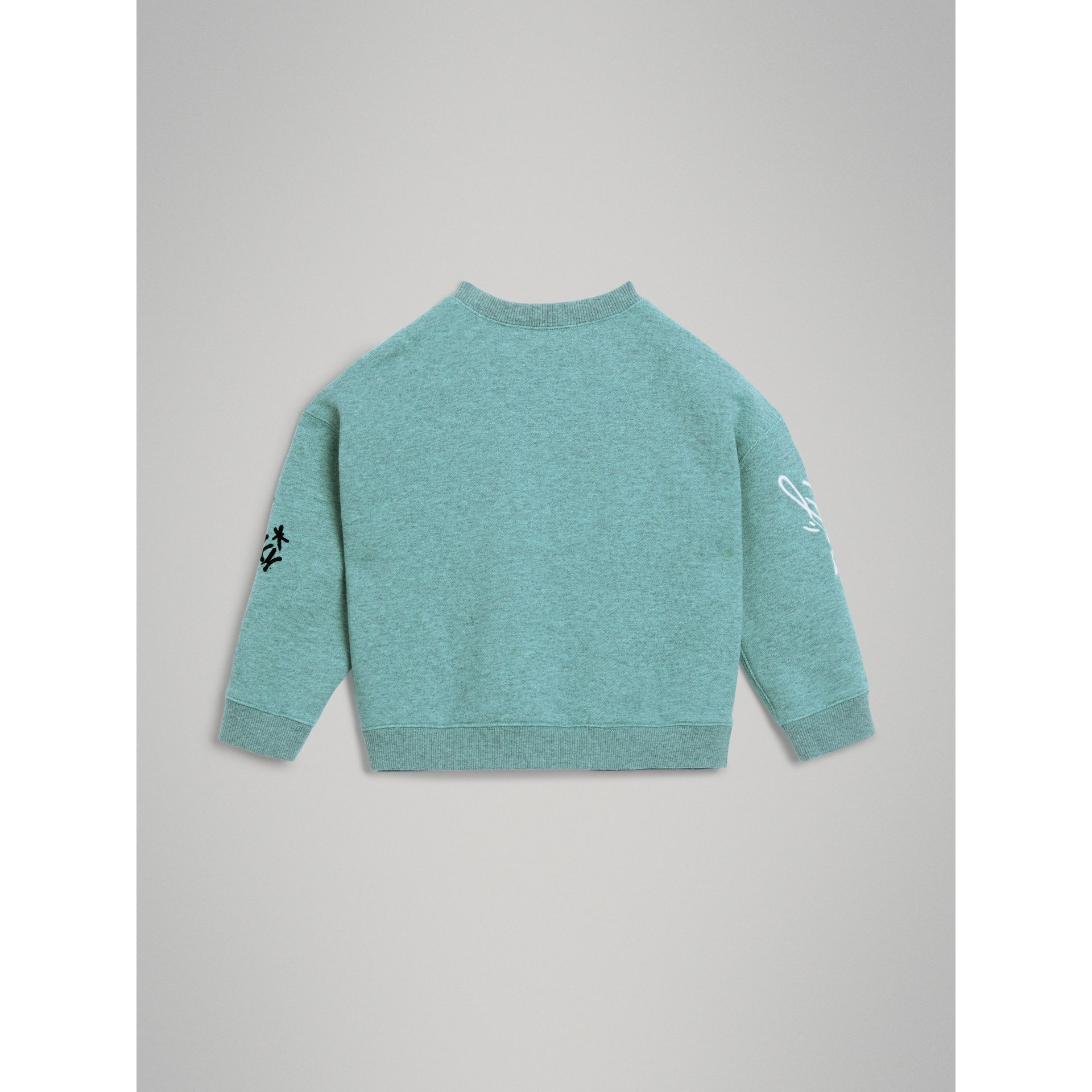 Forever is Now Print Cotton Sweatshirt in Turquoise - Girl | Burberry Australia - gallery image 3