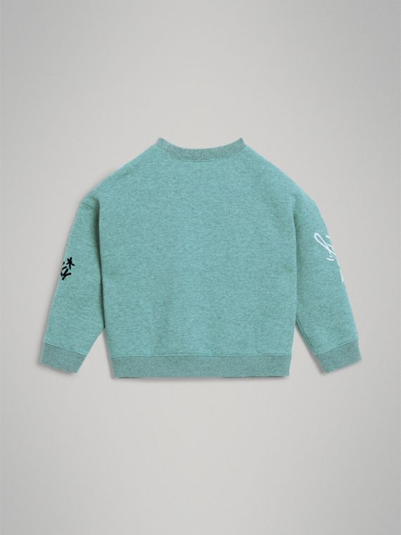 Forever is Now Print Cotton Sweatshirt in Turquoise - Girl | Burberry - cell image 3