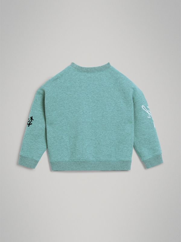Forever is Now Print Cotton Sweatshirt in Turquoise | Burberry - cell image 3