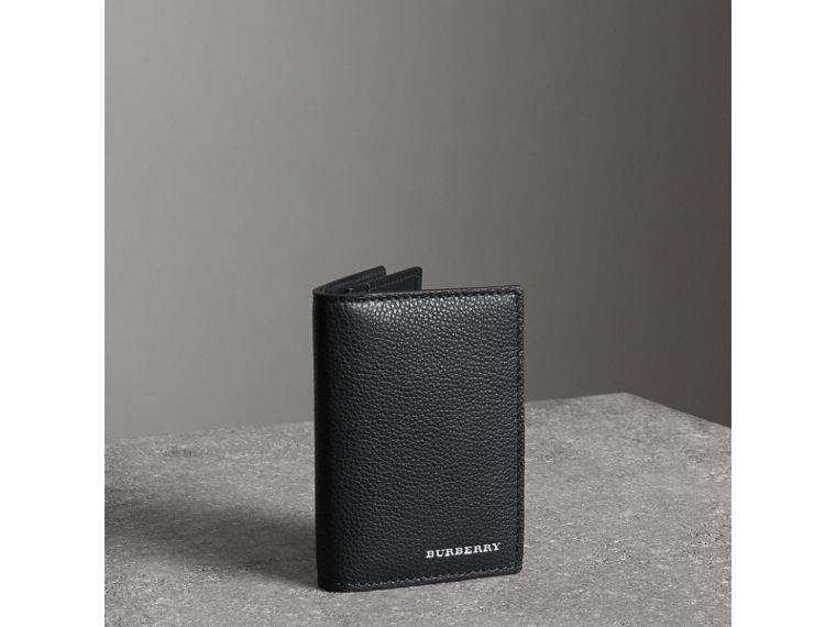 Grainy Leather Folding Card Case in Black | Burberry - cell image 4