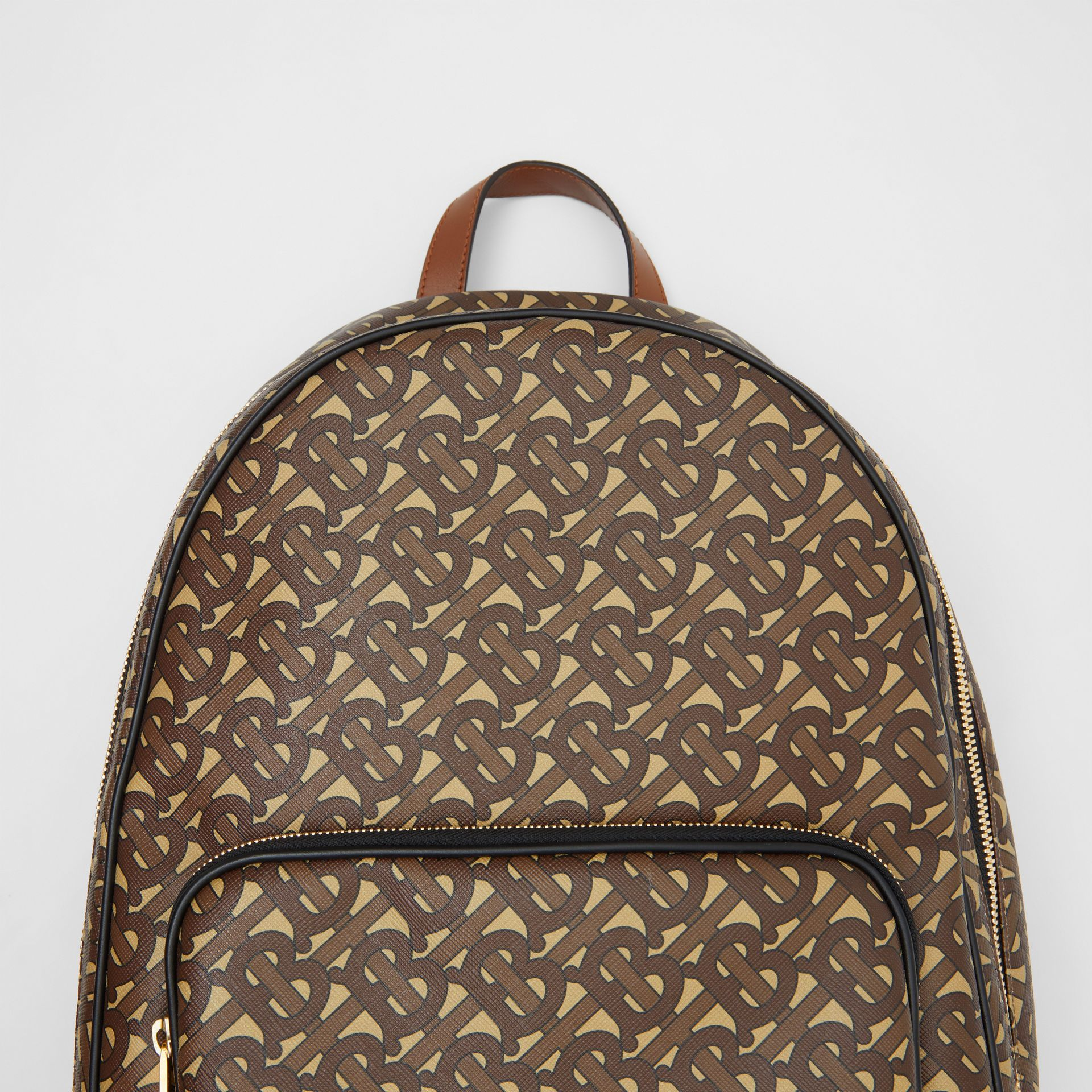 Monogram Print E-canvas and Leather Backpack in Bridle Brown - Men | Burberry United Kingdom - gallery image 1