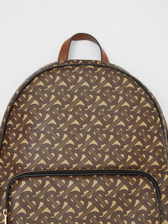 Monogram Print E-canvas and Leather Backpack in Bridle Brown - Men | Burberry United Kingdom - cell image 1
