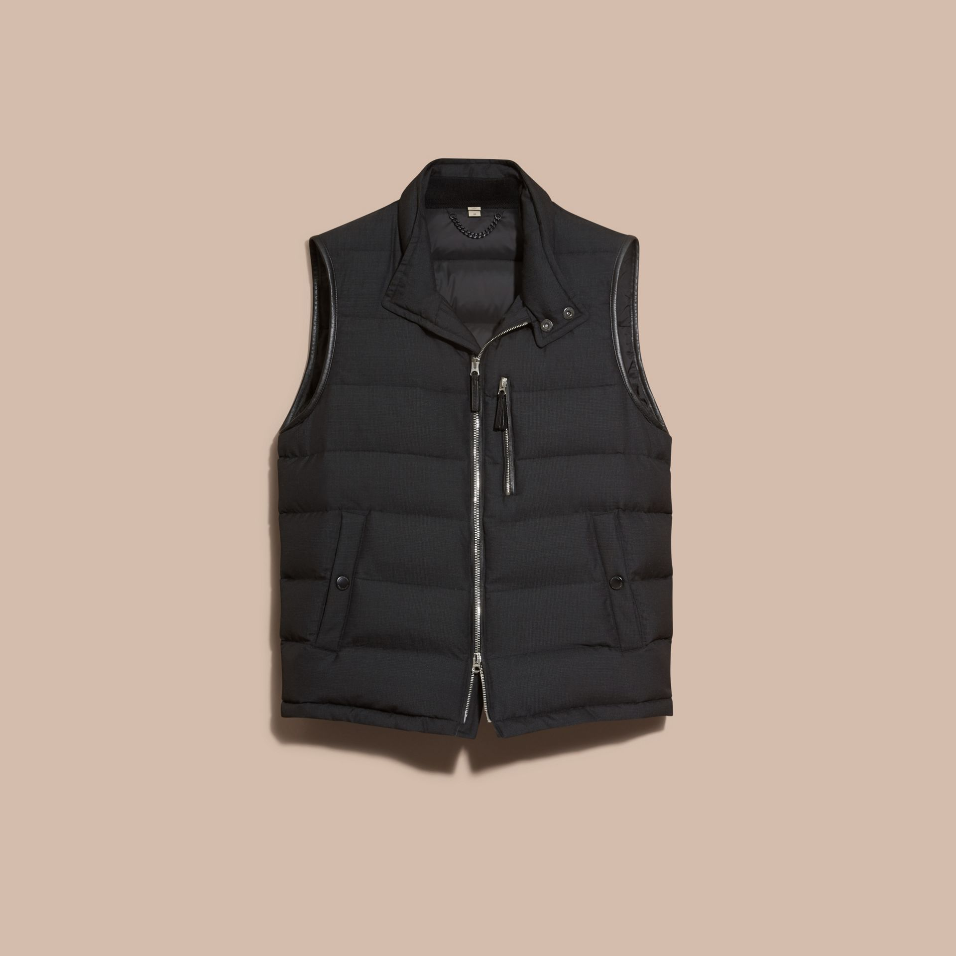 Charcoal Lambskin Trim Down-filled Silk Wool Gilet - gallery image 4