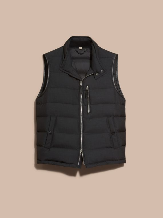 Charcoal Lambskin Trim Down-filled Silk Wool Gilet - cell image 3