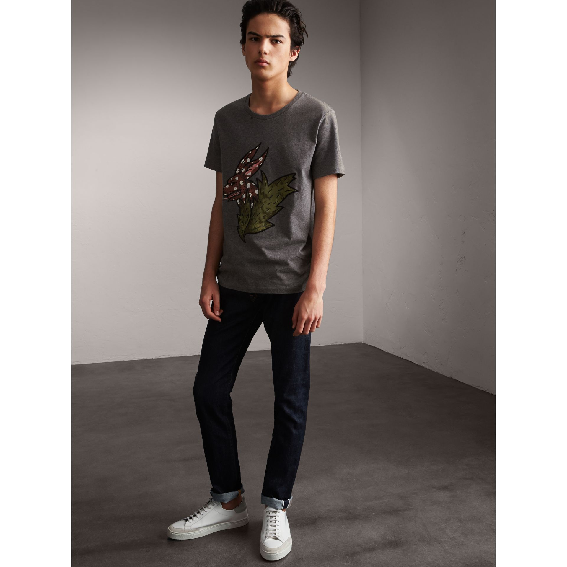 Flocked and Embroidered Beasts Print Cotton T-shirt in Mid Grey Melange - Men | Burberry - gallery image 1