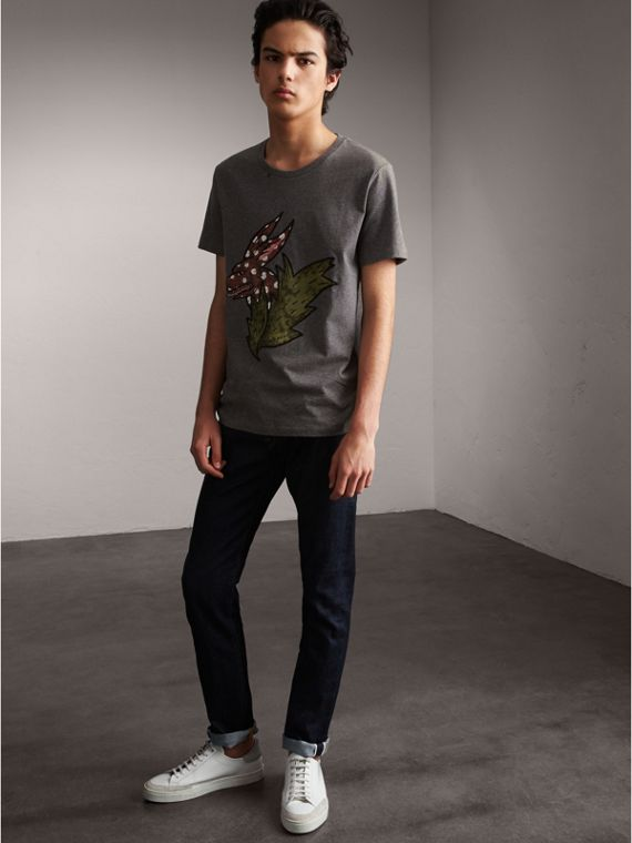 Flocked and Embroidered Beasts Print Cotton T-shirt in Mid Grey Melange