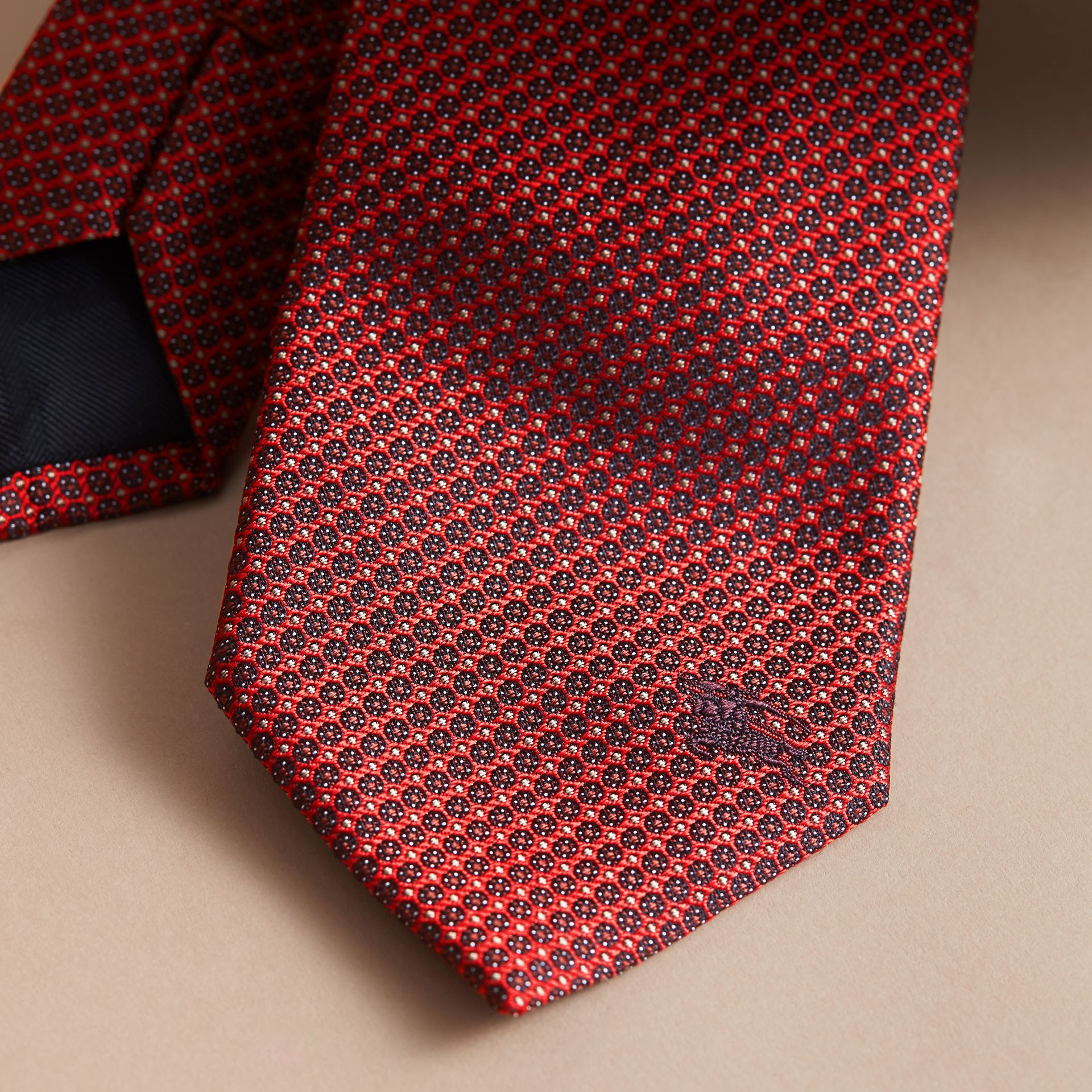 Modern Cut Patterned Silk Tie Parade Red - gallery image 2