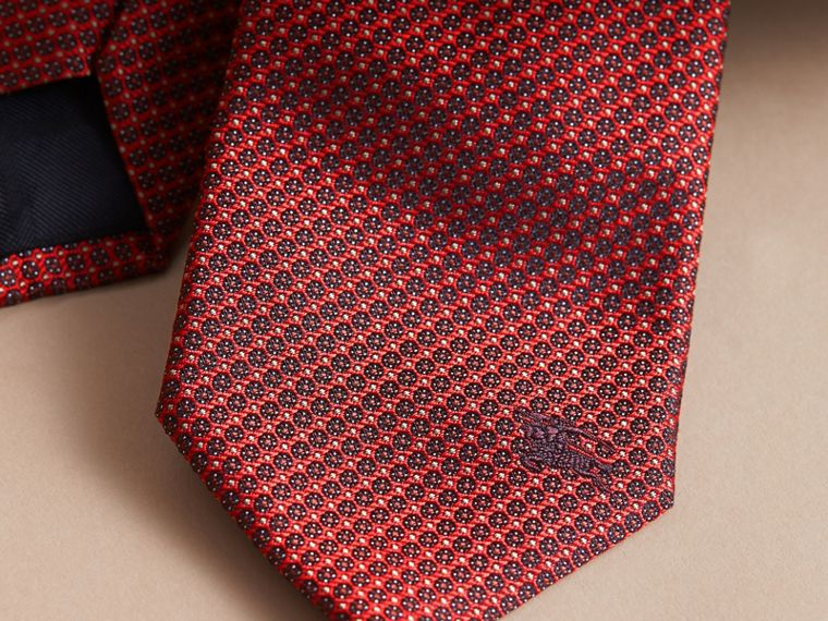 Modern Cut Patterned Silk Tie Parade Red - cell image 1