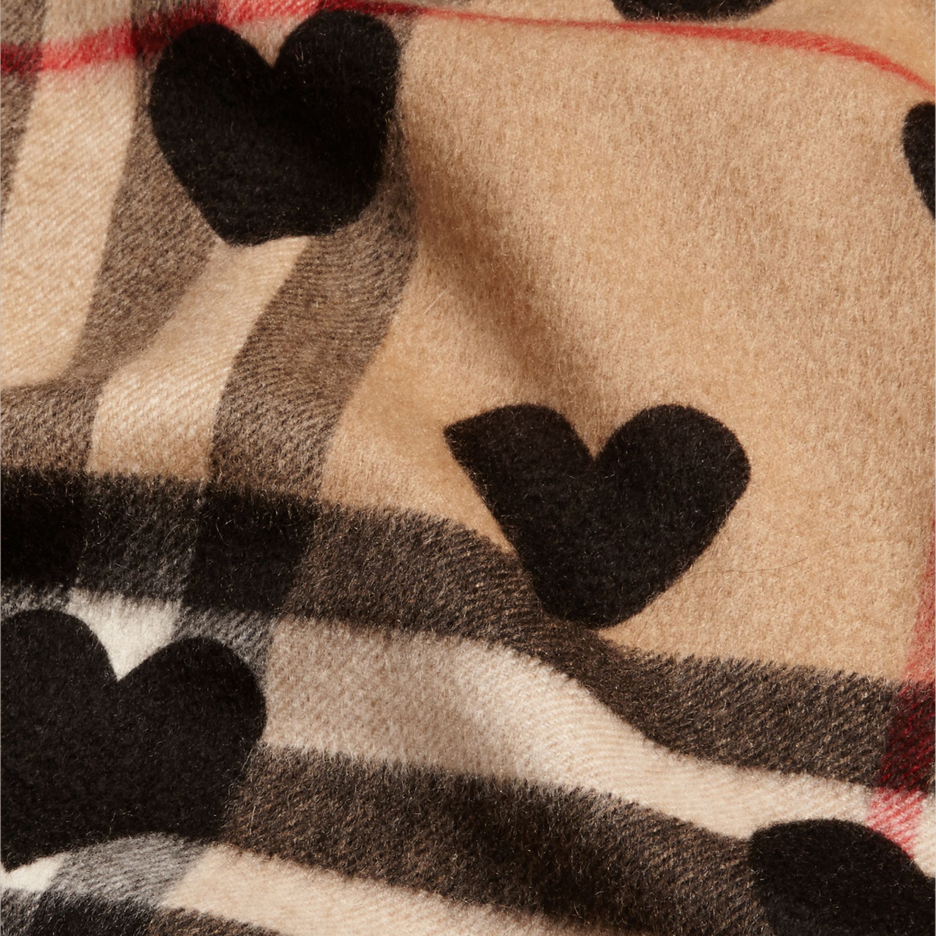The Classic Cashmere Scarf in Check and Hearts in Black - gallery image 5
