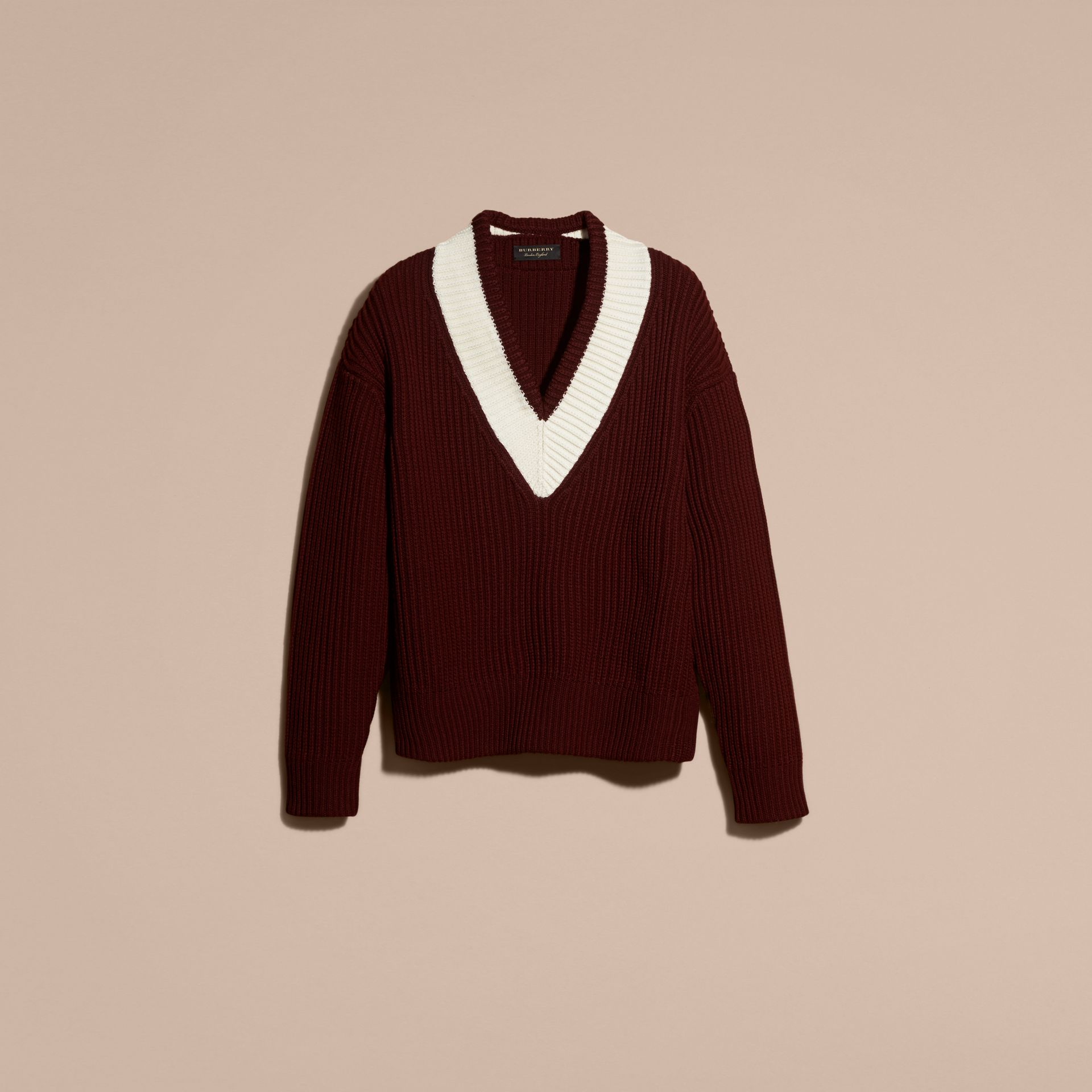 Deep burgundy/natural white Sports-striped Wool Sweater - gallery image 4