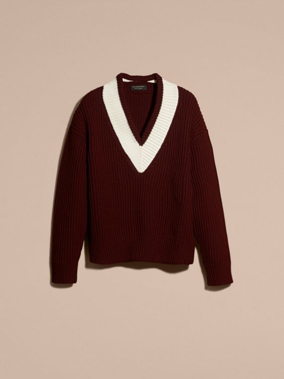 Deep burgundy/natural white Sports-striped Wool Sweater - cell image 3