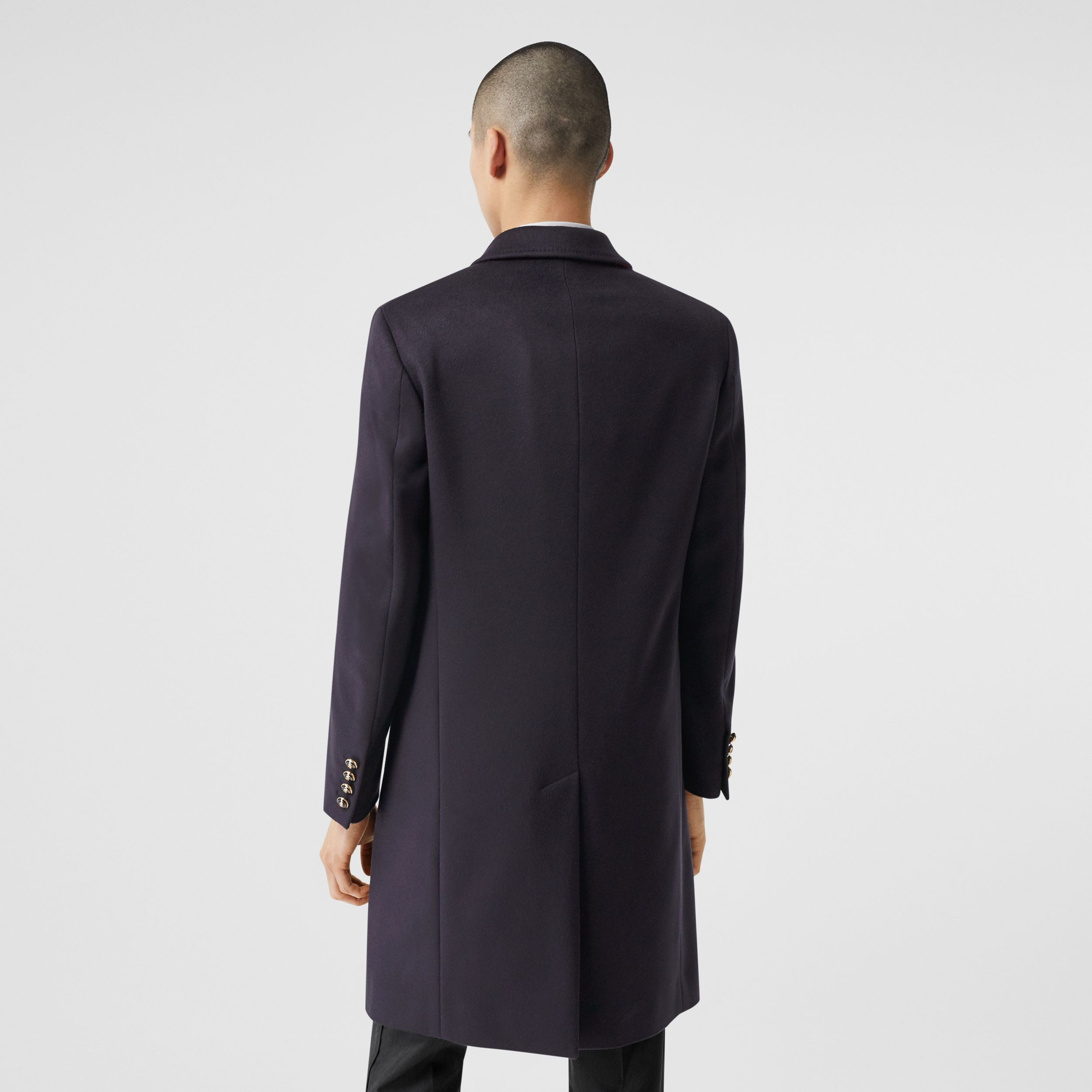 Button Detail Wool Cashmere Tailored Coat in Navy - Men | Burberry - 3