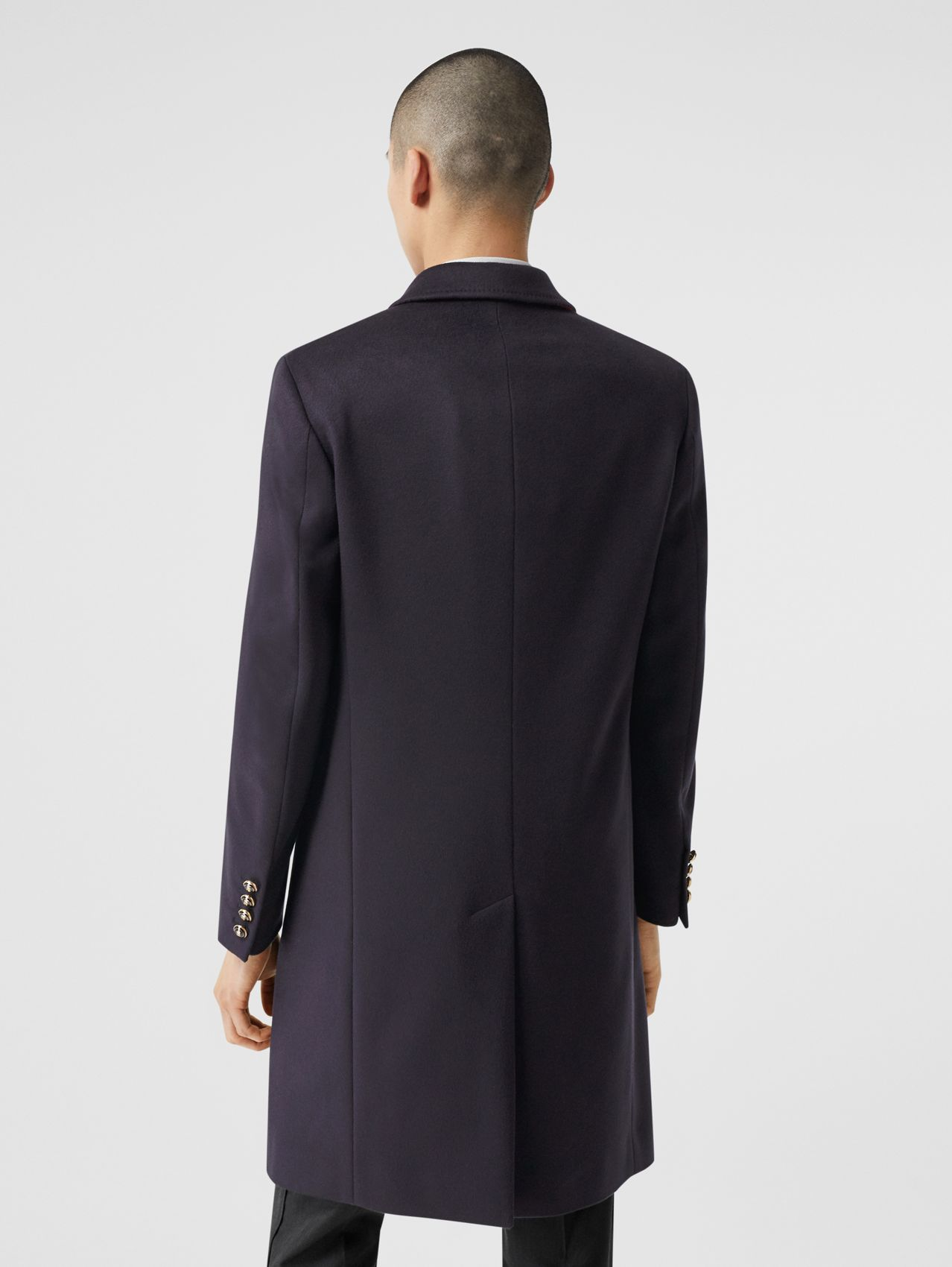Button Detail Wool Cashmere Tailored Coat (Navy)