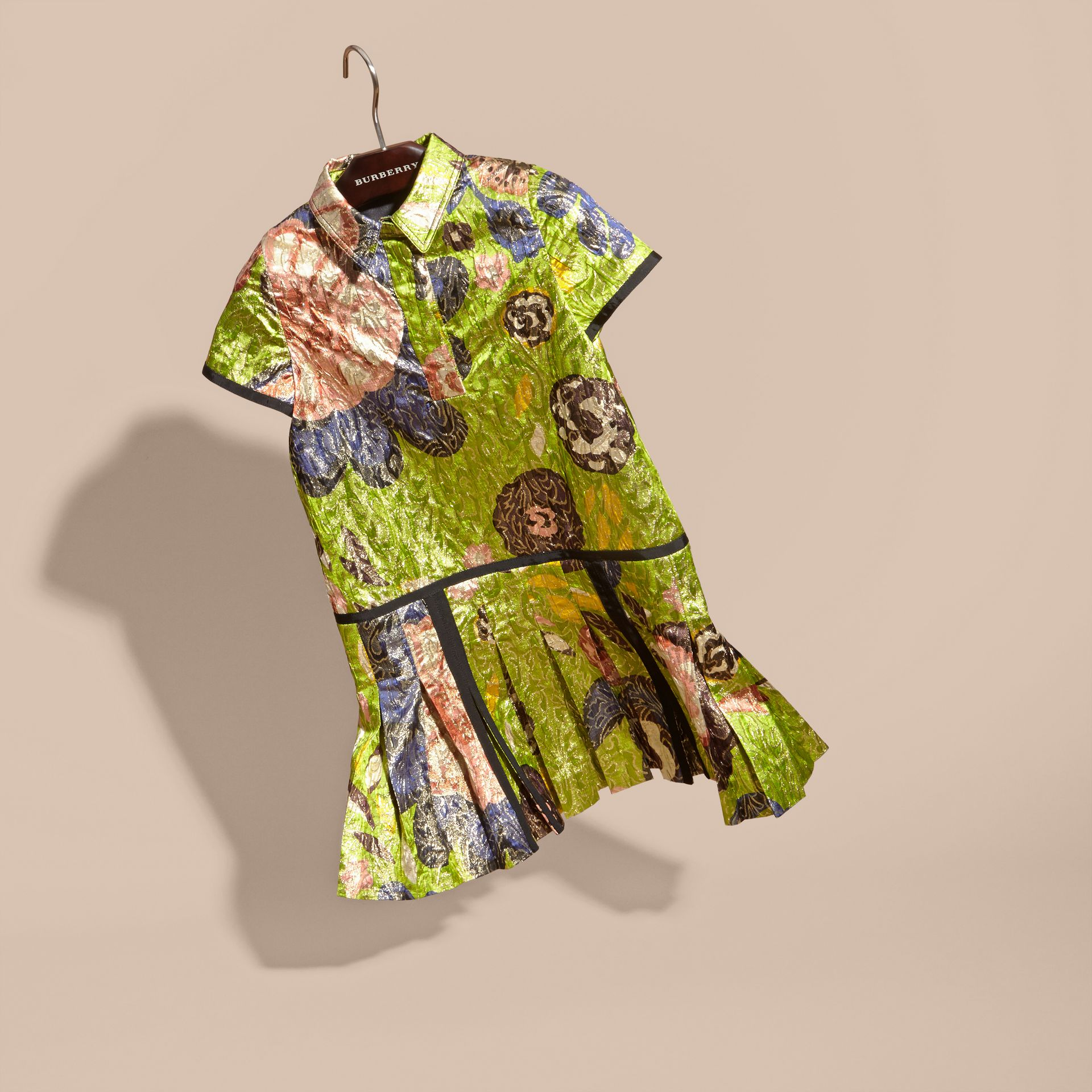 Dark lime Floral Print Lamé Shirt Dress - gallery image 3