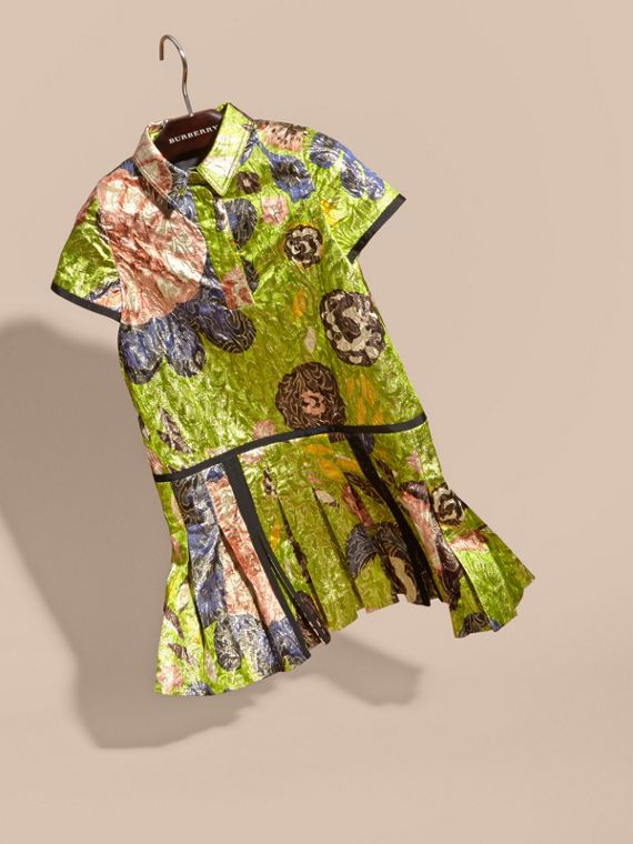 Dark lime Floral Print Lamé Shirt Dress - cell image 2