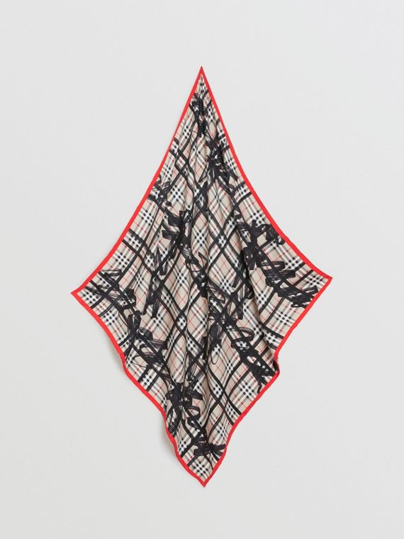 Scribble Check Silk Square Scarf in Stone