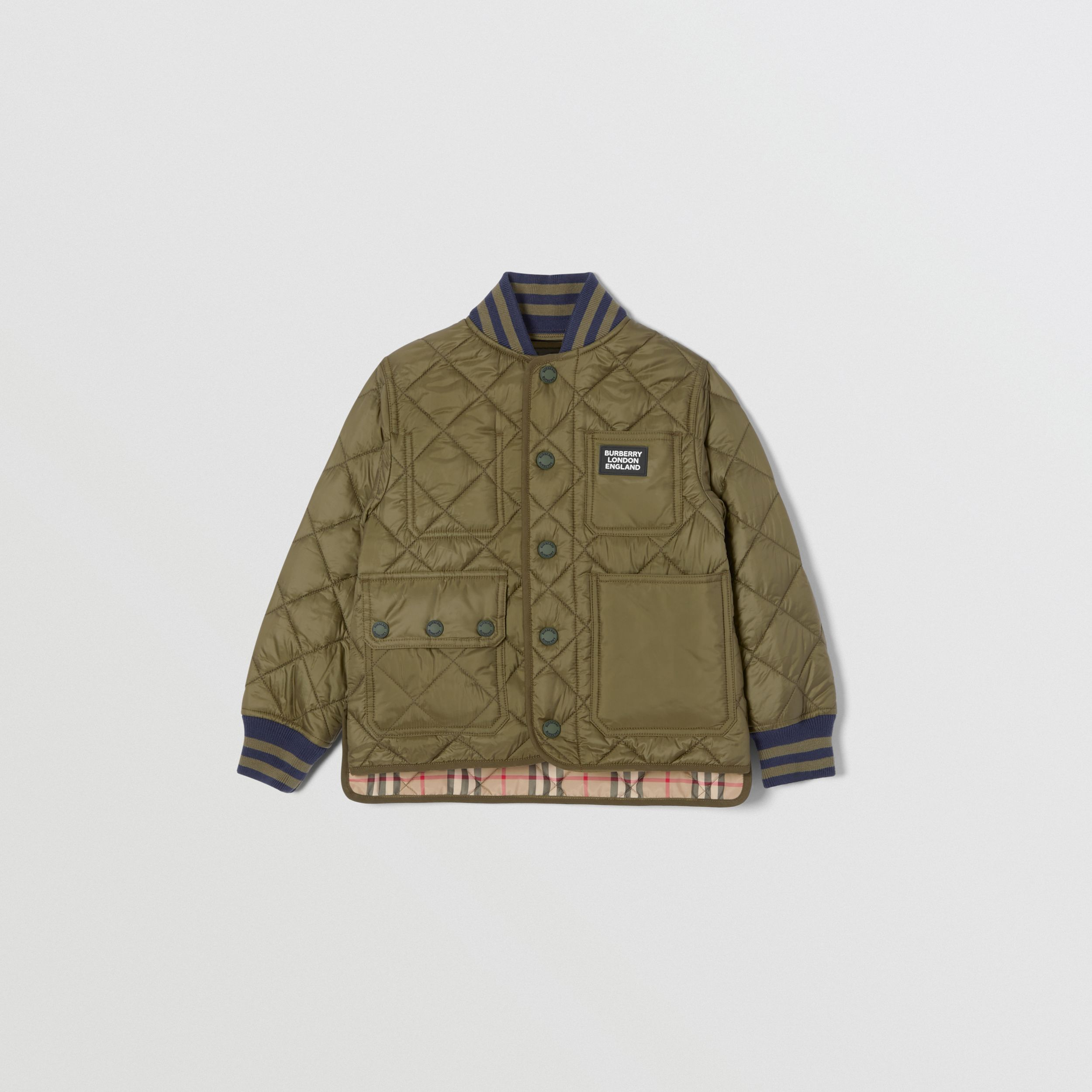 Recycled Polyester Diamond Quilted Jacket in Oregano | Burberry - 1