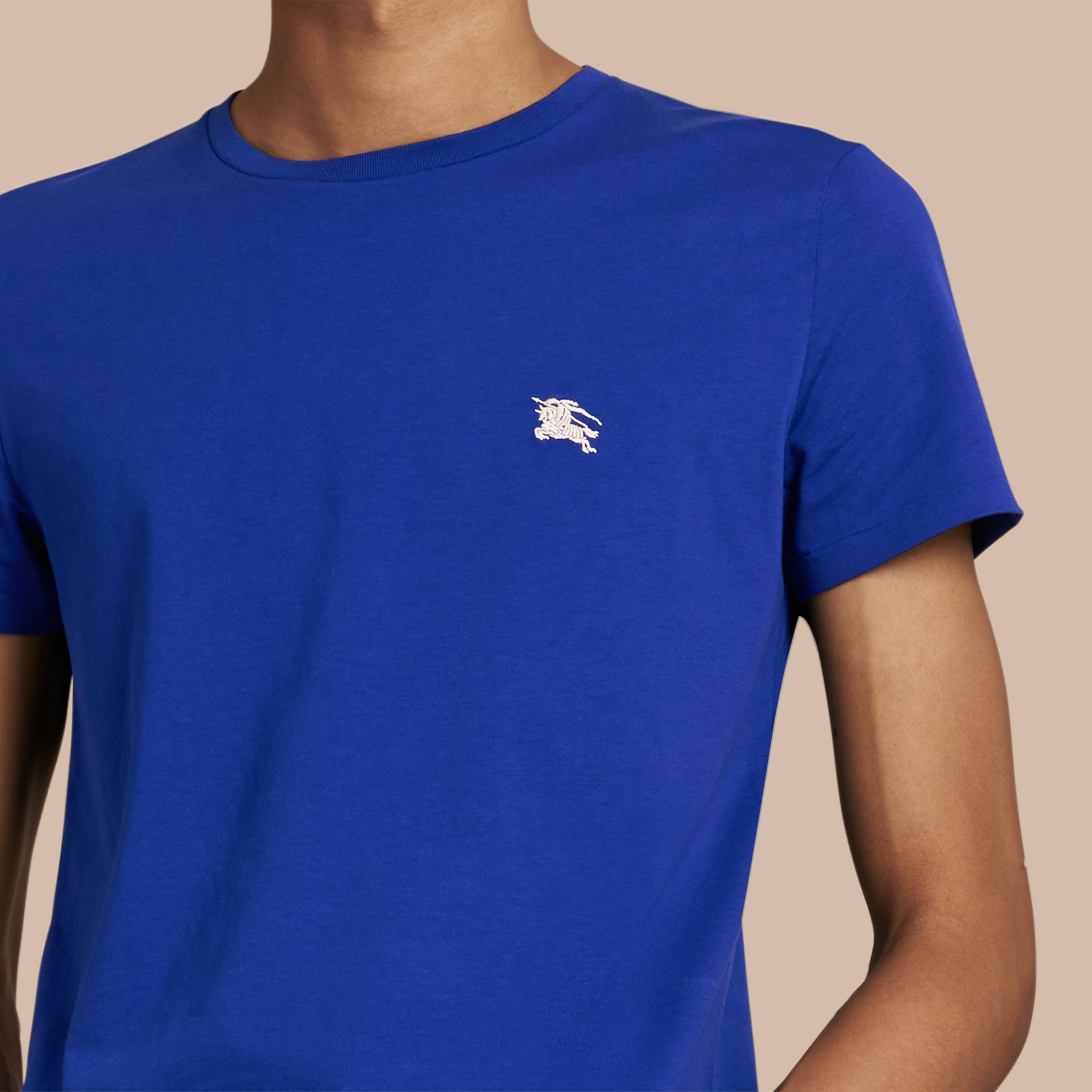 Cotton Jersey T-shirt in Bright Lapis - Men | Burberry United Kingdom - gallery image 2