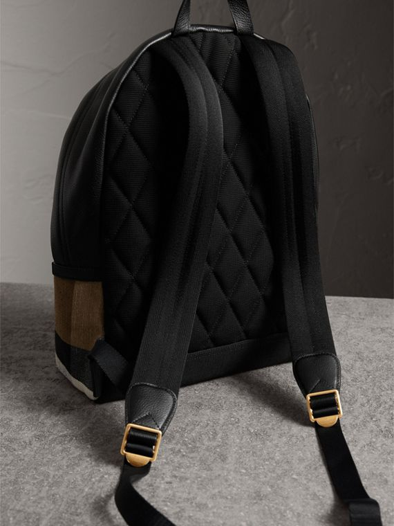 Canvas Check and Leather Backpack in Black - Men | Burberry - cell image 3