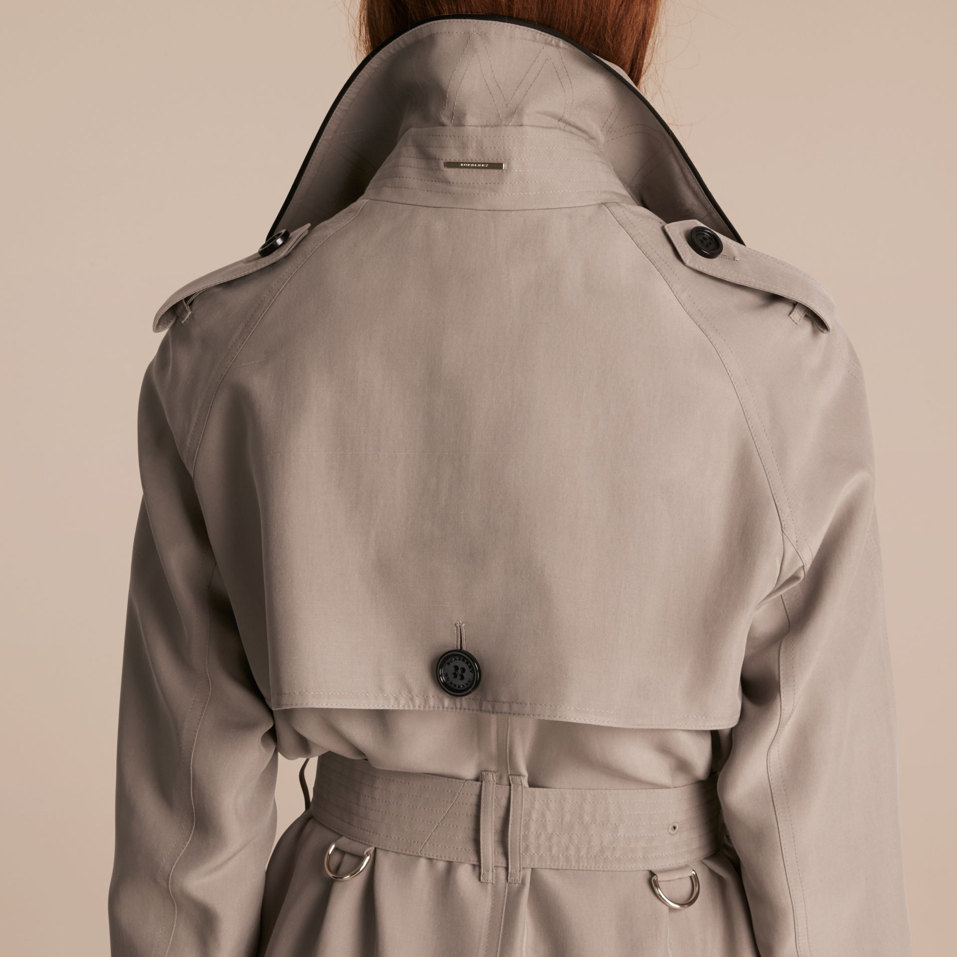 Pale taupe Oversize Detail Silk Trench Coat Pale Taupe - gallery image 5