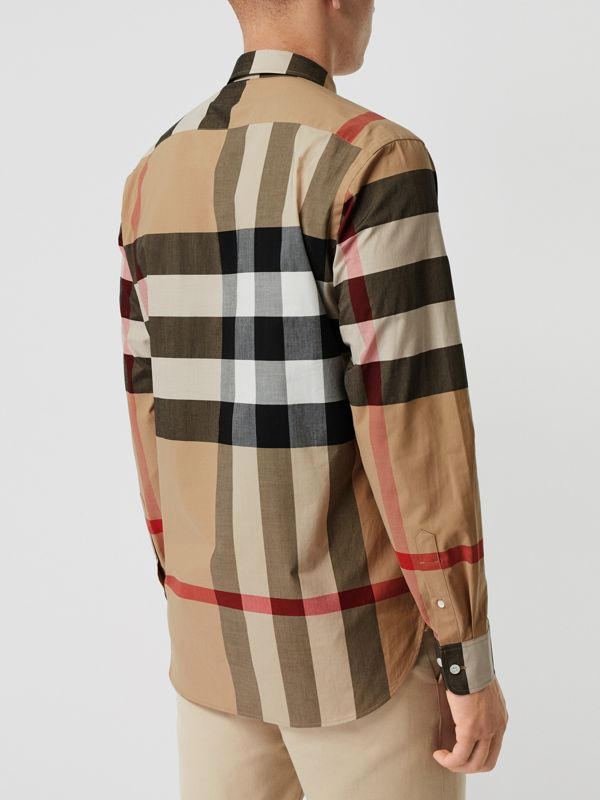 Check Stretch Cotton Shirt in Camel - Men | Burberry Singapore - cell image 2