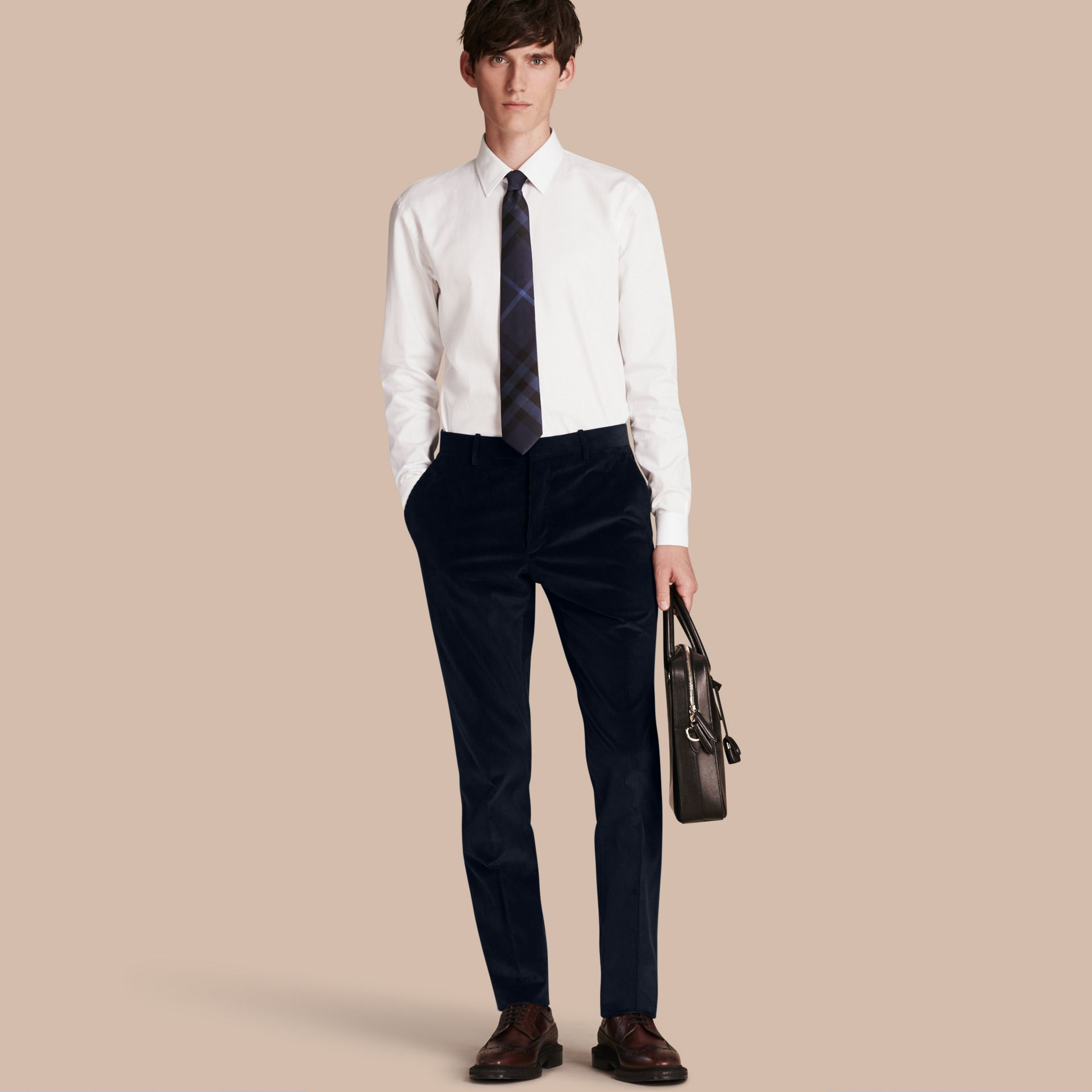 Navy Slim Fit Cotton Corduroy Trousers Navy - gallery image 1