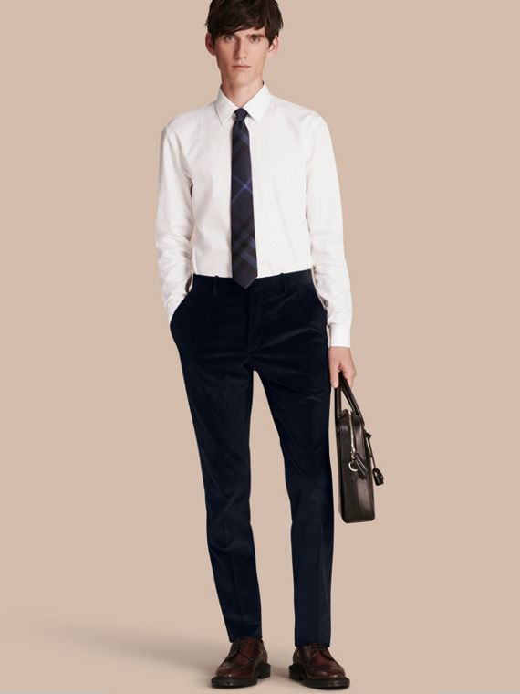 Slim Fit Cotton Corduroy Trousers Navy