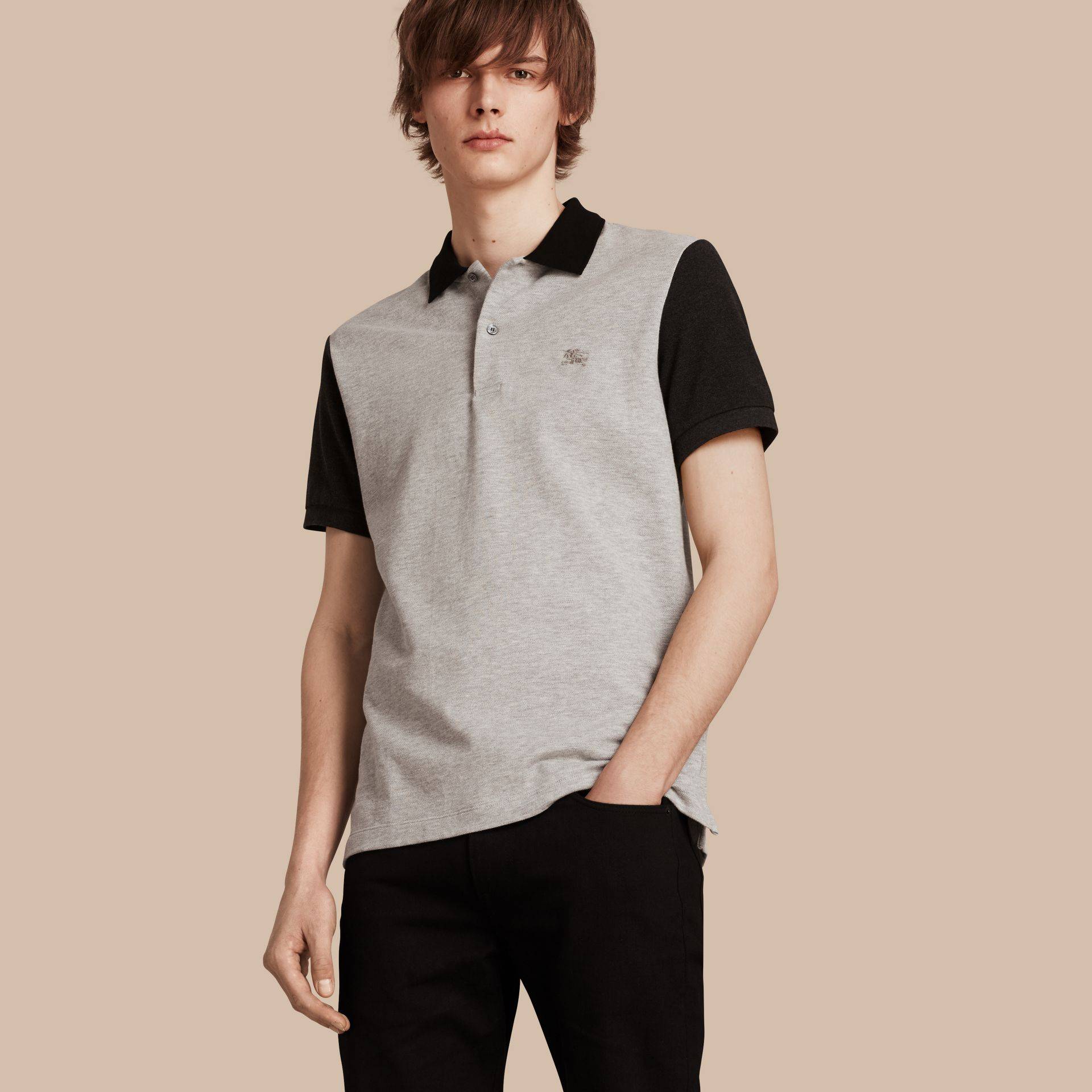 Pale grey melange Colour-block Cotton Piqué Polo Shirt Pale Grey Melange - gallery image 1