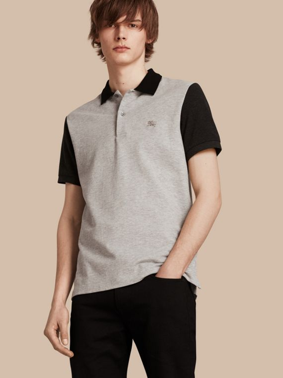 Colour-block Cotton Piqué Polo Shirt Pale Grey Melange