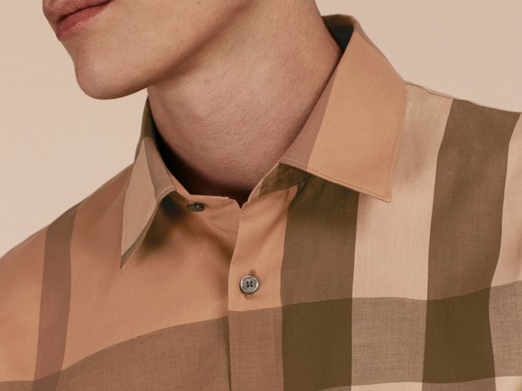Cammello scuro Camicia in cotone con motivo check Cammello Scuro - cell image 4