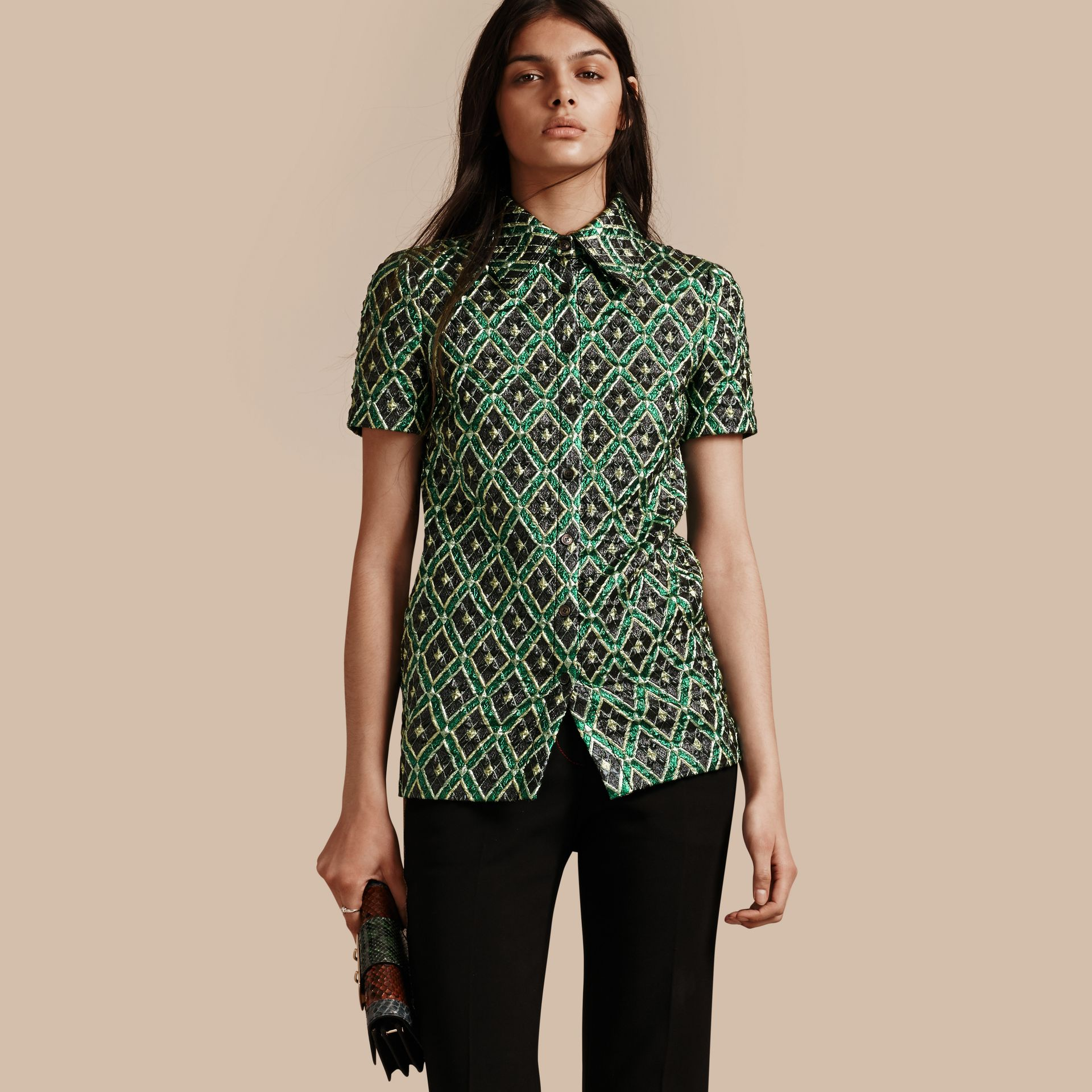 Deep green Short-sleeved Check Jacquard Shirt - gallery image 1