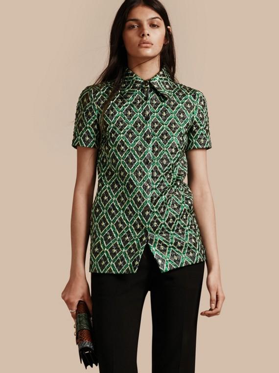 Short-sleeved Check Jacquard Shirt