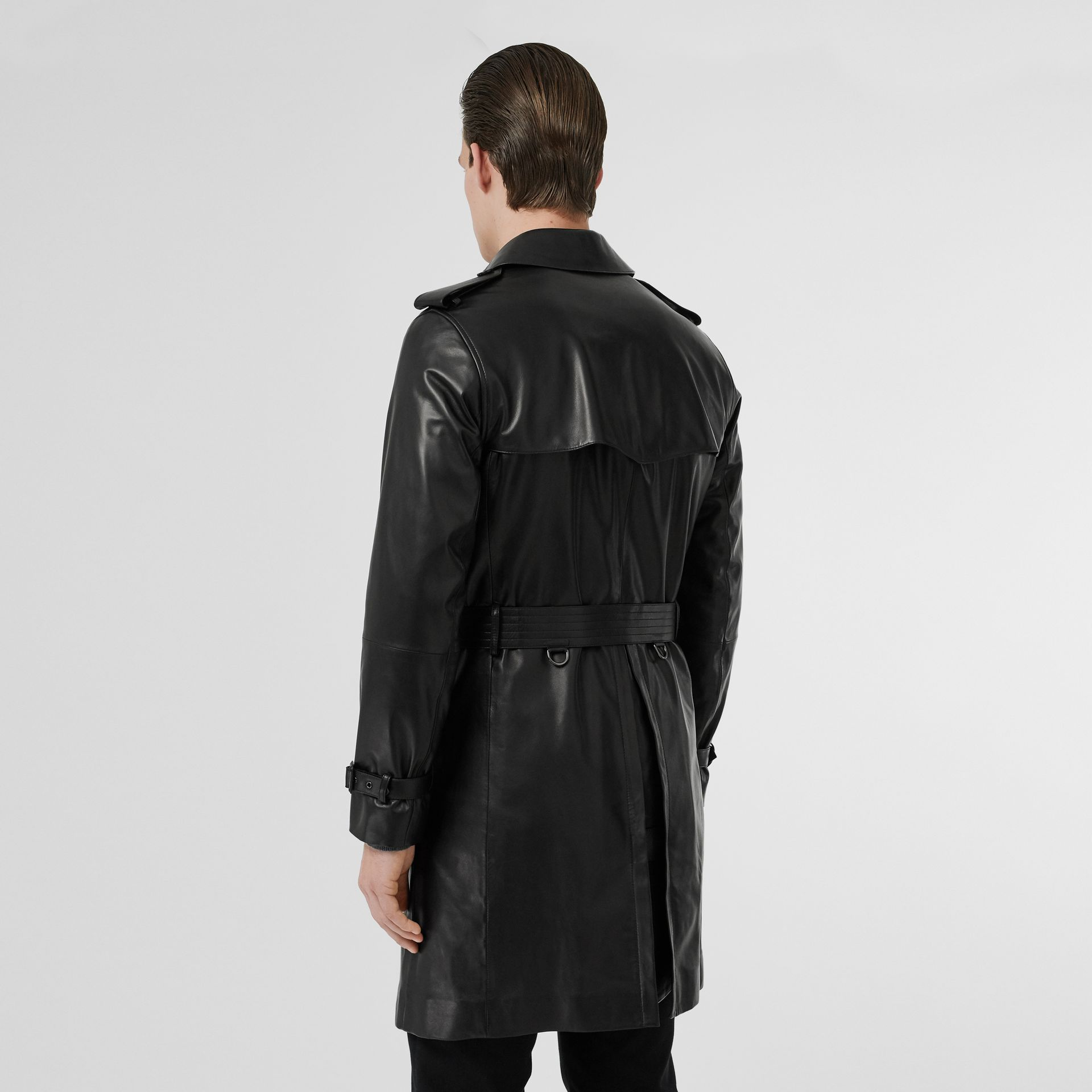 Lambskin Trench Coat in Black - Men | Burberry Singapore - gallery image 2