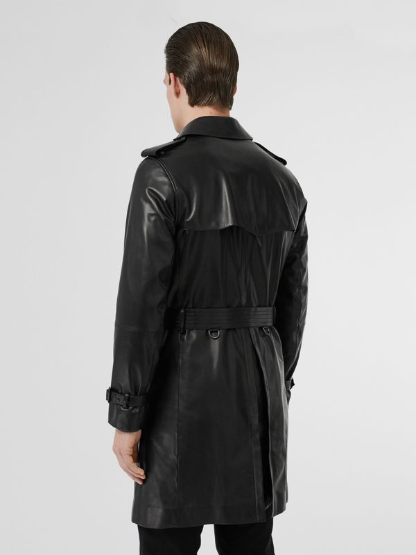 Lambskin Trench Coat in Black - Men | Burberry Australia - cell image 2