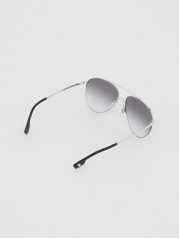 Top Bar Detail Pilot Sunglasses in Dark Grey - Women | Burberry - cell image 3