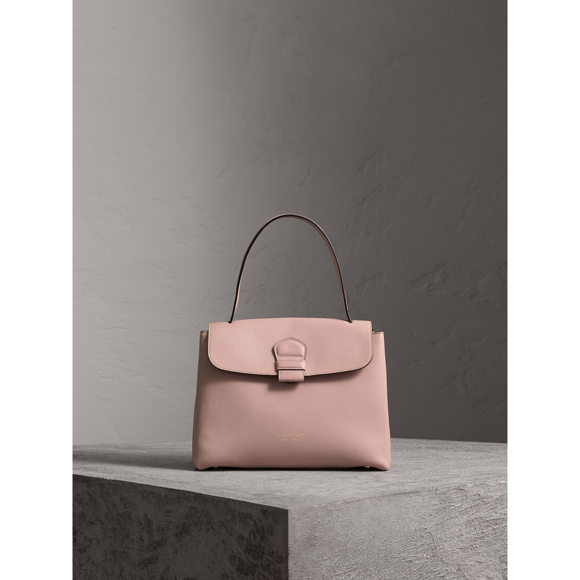 Medium Grainy Leather and House Check Tote Bag in Pale Orchid - Women | Burberry - gallery image 7