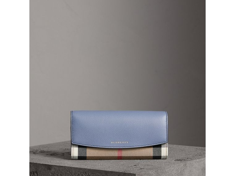House Check And Leather Continental Wallet in Slate Blue - Women | Burberry Singapore - cell image 4
