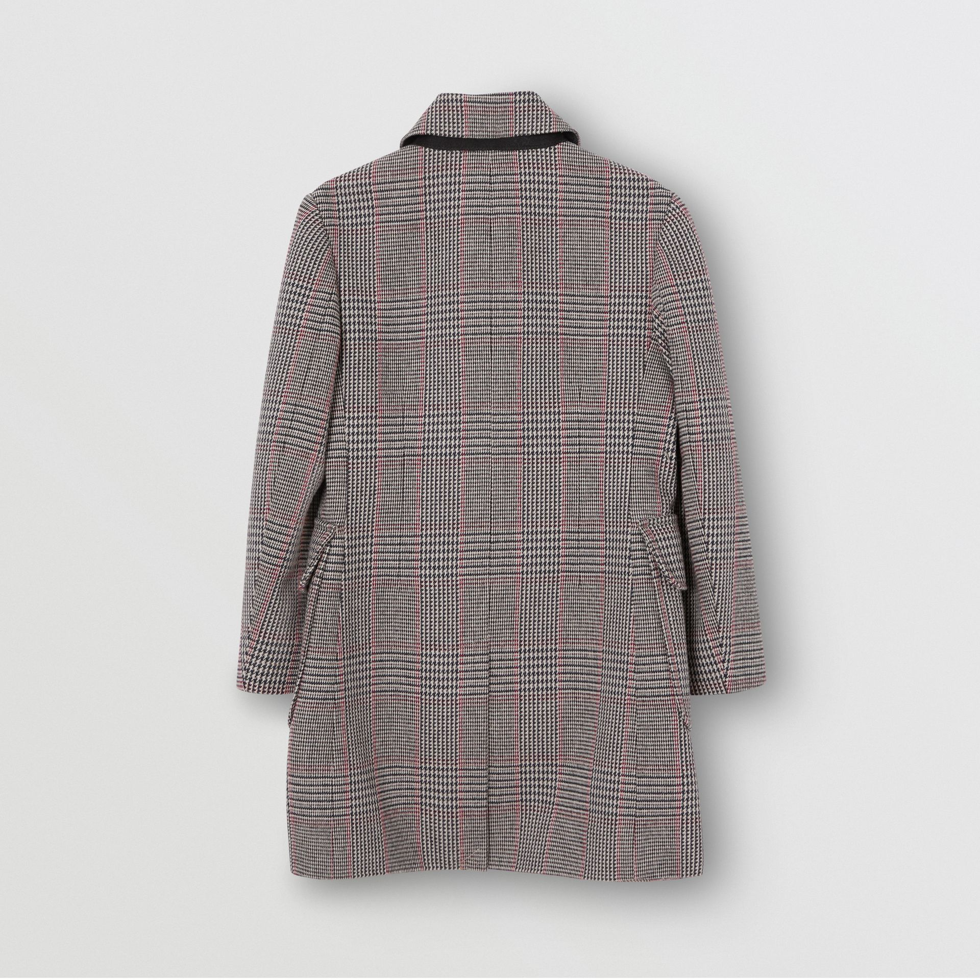 Prince of Wales Check Wool Cotton Blend Coat in Slate Blue Melange | Burberry - gallery image 3