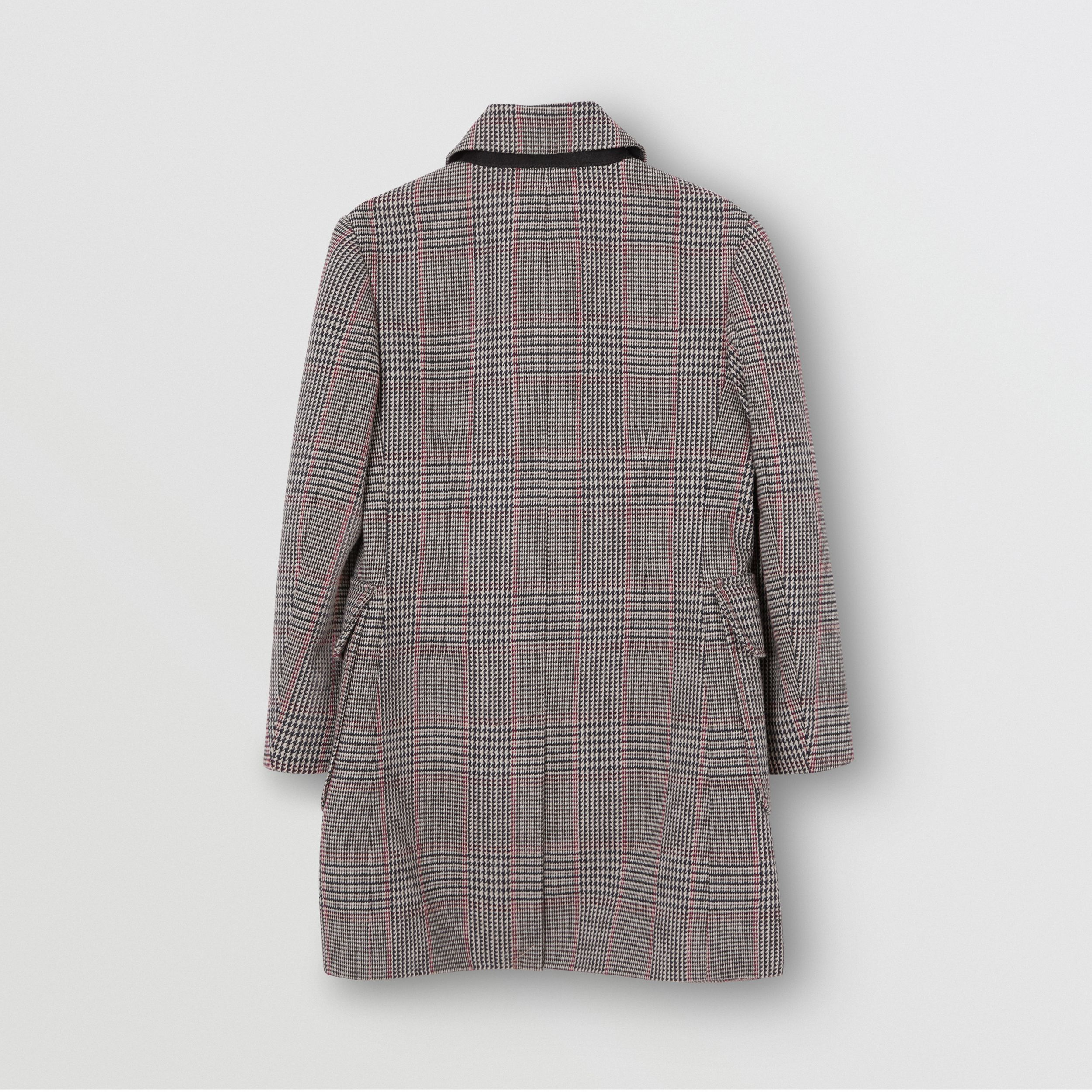 Prince of Wales Check Wool Cotton Blend Coat in Slate Blue Melange | Burberry - 4