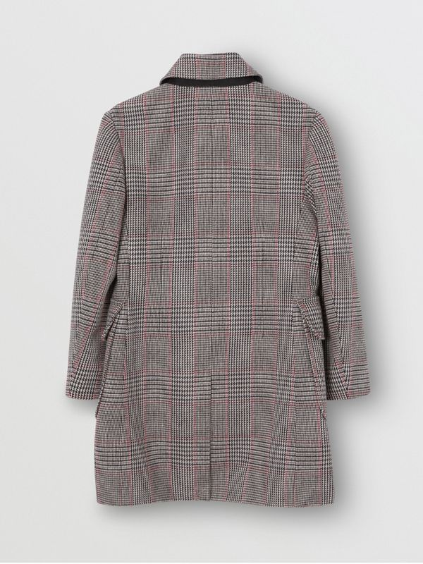 Prince of Wales Check Wool Cotton Blend Coat in Slate Blue Melange | Burberry - cell image 3